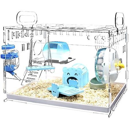 YOKITOMO ハムスターケージ 三代目 まわし車 給水ボトルなど含めて7点セット 透明トレーデザイン お掃除しやすい 通気穴いっぱい 2階デザイン 持ち運びやすい エコなアクリル製 (ブルーセット)