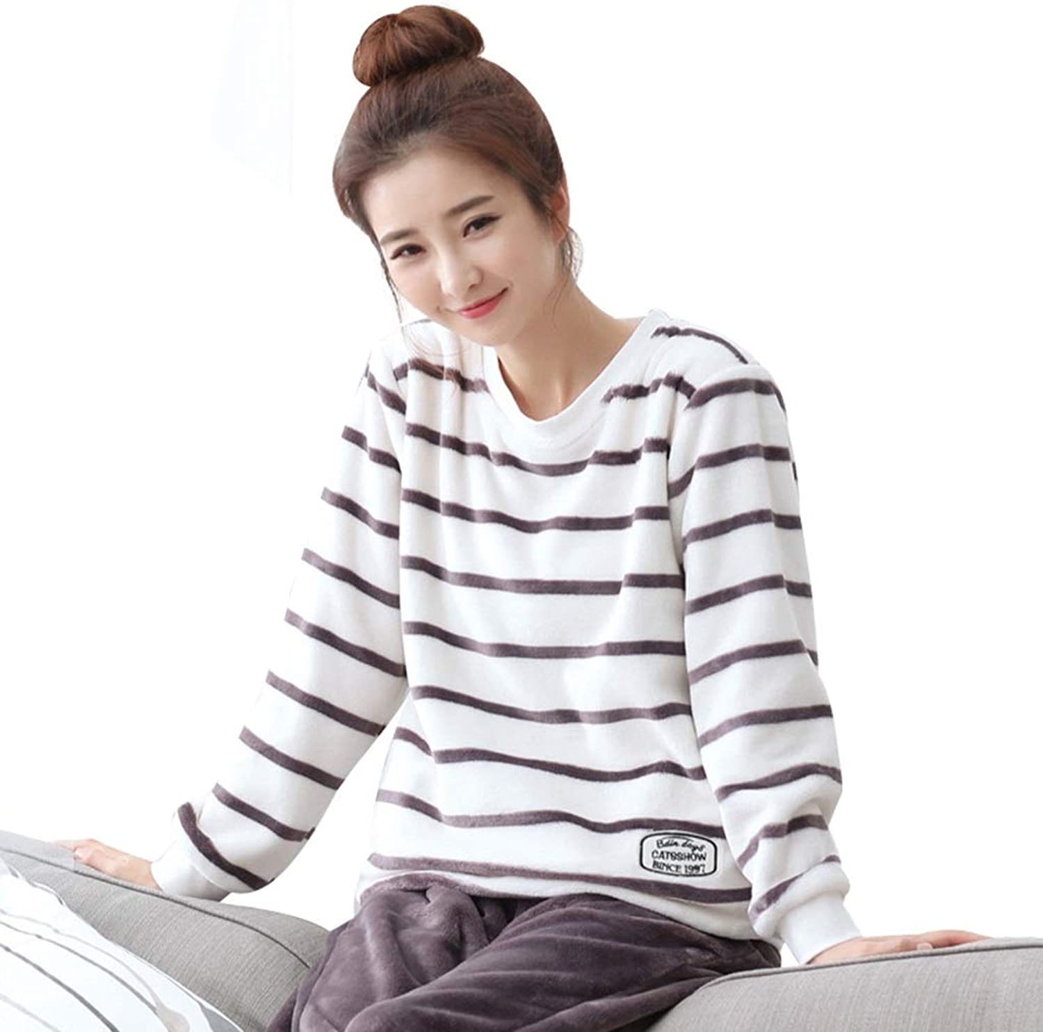 Sleepwear Stripes Nightgown Females Coral Velvet Nightwear Applicable for Autumn and Winter Round Neck Pajamas for Girls Pajama Sets (color   Multicolord, Size   XXL)