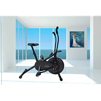 TRENZFIT Stylish Air Bike AB-301|| Exercise Home Gym Cycle || Stationary or Dual Moving Arms || Adjustable Cushioned Seat || Full Body Weight Loss Workout