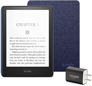Kindle Paperwhite Essentials Bundle including Kindle Paperwhite - Wifi, Ad-supported, Amazon Fabric Cover, and Power Adapter