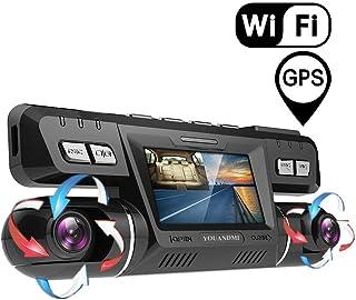 YOUANDMI Dashcam2160P UHD GPS WiFi Frente y Trasera Dobles 170 ° Gran Angular Cámara Coche grabadora con WDR Sony Vision NocturnaADASGrabación en BucleSensor de Movimiento y G