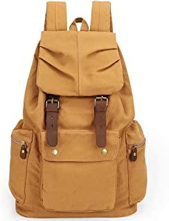Multifunctin Unisex Canvas Student Outdoor Backpack with Model Number 1005 (Yellow)