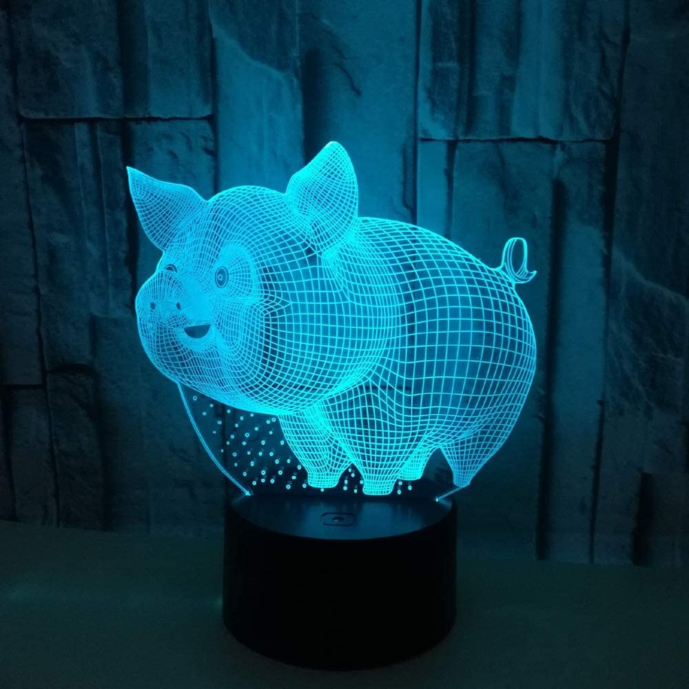Table Lamps Lamp Cartoon Pig Stere Gradient 3D LED Inexpensive Colorful Regular store