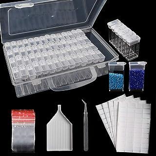 جعبه های ذخیره سازی نقاشی الماس SGHUO 64 Slots جعبه گلدوزی نقاشی الماس 5d ، با صفحه قیف ، 200 عدد برچسب برچسب و موچین