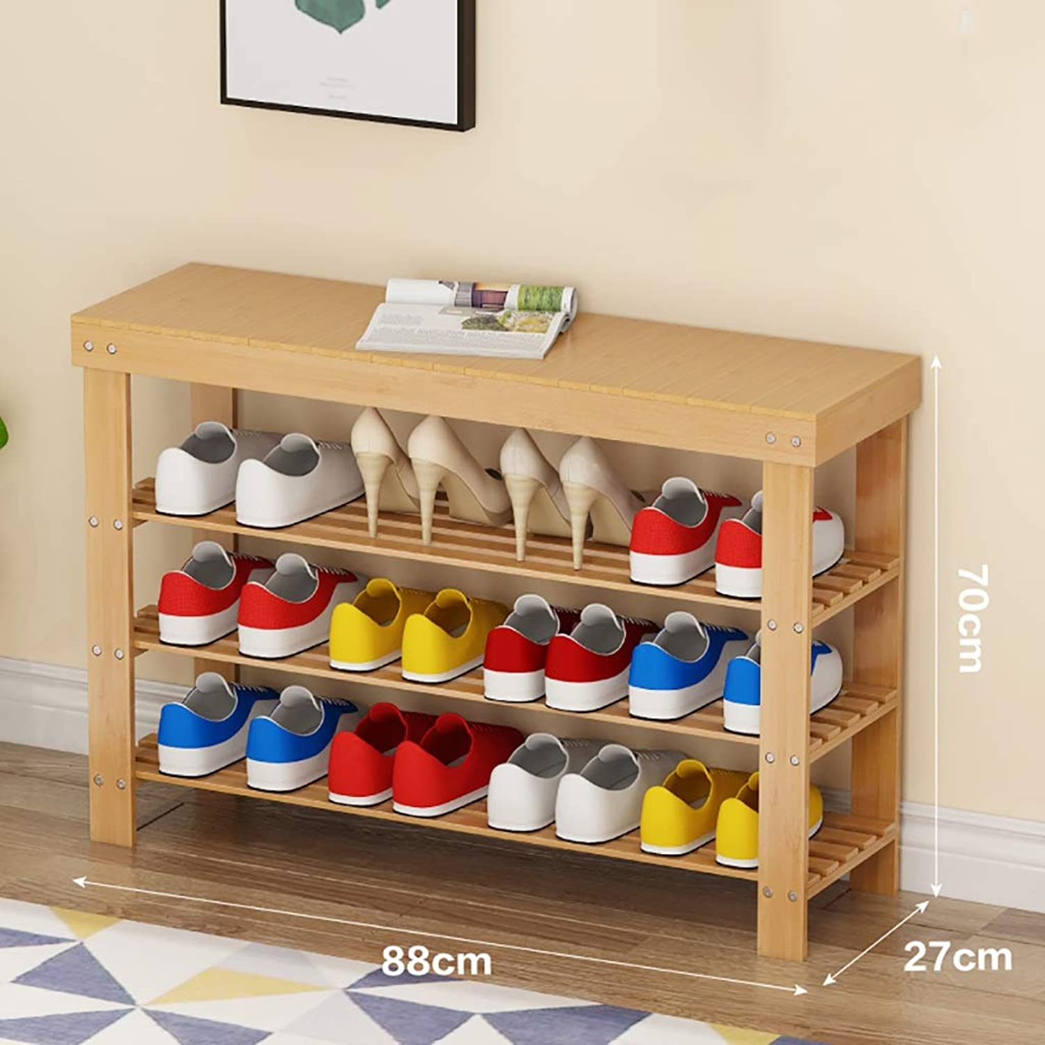 3 Layer shoes Rack Change shoes Bench Small shoes Cabinet at The Door Corridor Storage Stool Bamboo Household Space Saving Multifunction (Size   88  27  70cm)