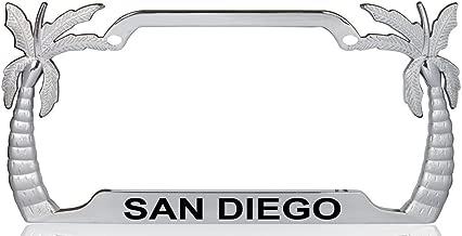 Custom Brother - SAN DIEGO Palm Tree Design Chrome Metal License Plate Auto Tag Frame