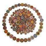 Bottoni 200 Pezzi Bottoni in Legno Decorativi Vintage Colorati Misti 2 Fori Per Cucire Artigianato Decorativo Fai Da Te 100pz 15mm + 100pz 25mm