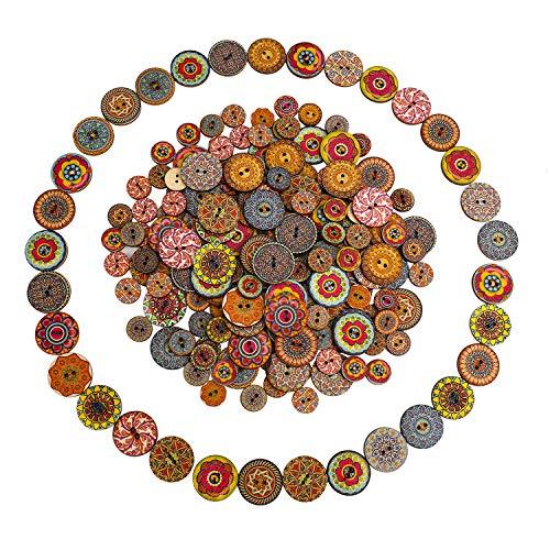 Botones Costura 200 Piezas Mixto Botón Aleatorio Pintura de Flores Formas Redondas Madera Botones con 2 Agujeros Para Coser, Manualidades, Scrapbooking y Bricolaje 15mm y 25mm