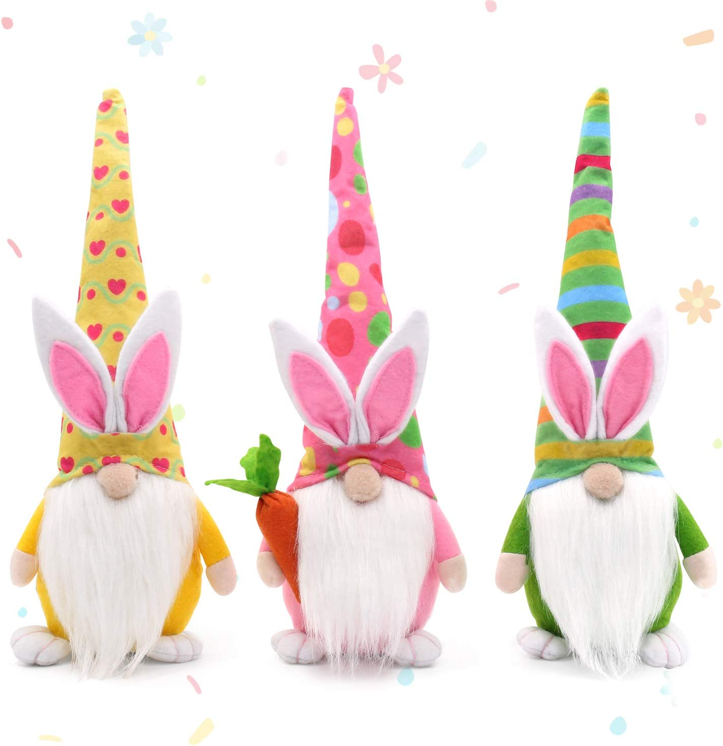 Easter Bunny Gnomes Spring Gifts Girl Room Decor Nordic Swedish Nisse Scandinavian Tomte Elf Dwarf Home Household Ornaments Set of 3
