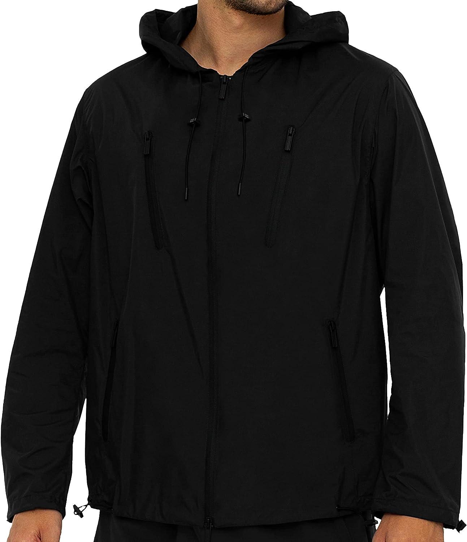 AIYIMEI Men Water and Wind Resistant Hooded Rain Jacket Mens Lightweight Windbreaker Men's Waterproof Rip Stop Bomber Jacket