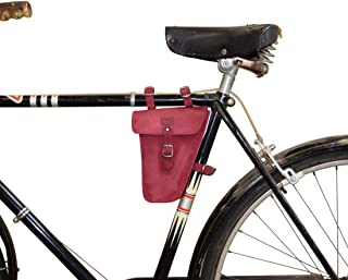 Hide & Drink, Leather Frame Bag for Bicycle/Triangular/Bike/Tool Pouch/Accessories/Biker Essentials, Handmade Includes 101 Year Warranty :: Red Velvet Suede
