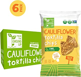 Real Food From The Ground Up Cauliflower Tortilla Chips - 6 Count, 4.5 Oz Bags (Lime)