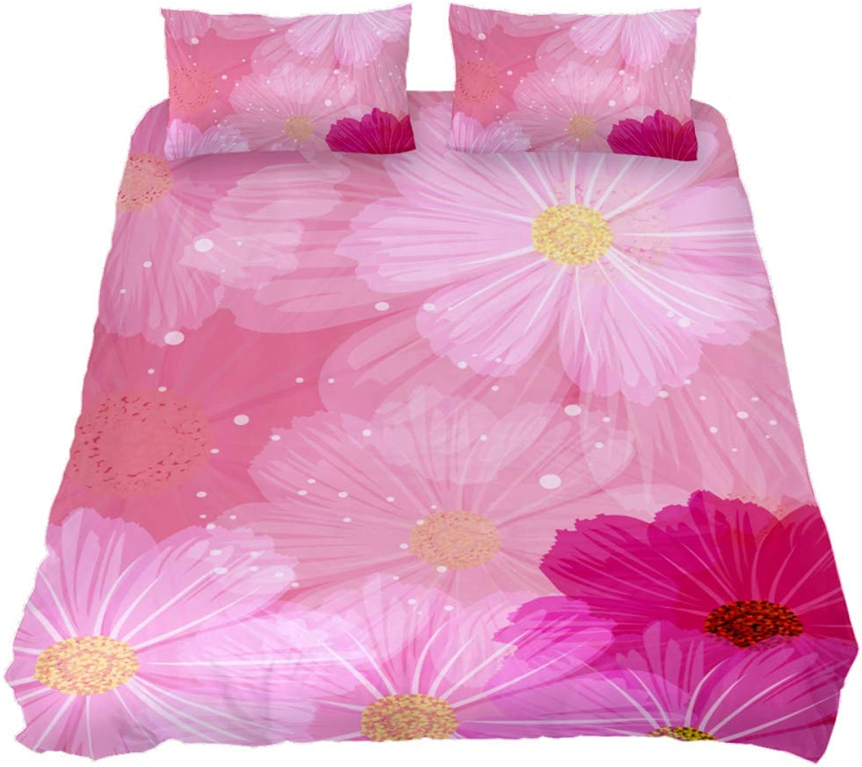 TIZORAX Parure de lit 3 pièces en Microfibre avec Housse de Couette et 2 taies d'oreiller pour Homme et Femme Motif Floral Rose, MultiCouleure, Full 79 x 91 \ 20 x 30 inch