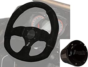Steering Wheel with Hub by Dragonfire Racing with Suede wheel w Red stitching For Polaris RZR