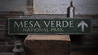 The Lizton Sign Shop Mesa Verde National Park Wood Sign, Personalized Arrow Favorite Park Name Gift Decor - Rustic Hand Made Vintage Wooden Sign - 11.25 x 60 Inches