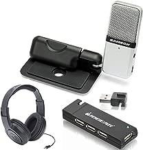 Samson Go Mic Portable USB Condenser Microphone Bundle With Samson Headphones + IOGEAR 4-Port USB 2.0 Hub