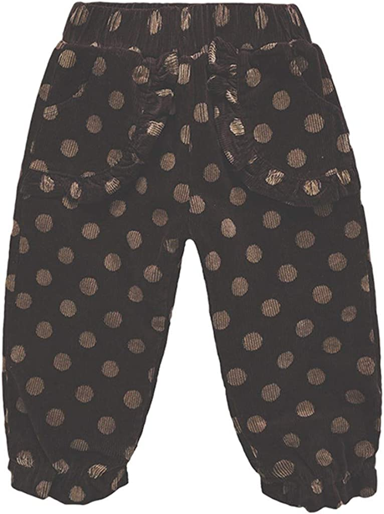 Moneycom 2Y-7Y Toddler Kids Baby Boys Girls Corduroy Winter Warm Bow Loose Solid Pants Trousers Cotton Blend Coffee