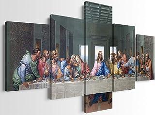 5 Piece Last Supper Wall Decor Famous Jesus Oil Painting by Leonardo Da Vinci Last Supper Wall Art Jesus Wall Decor Christ...