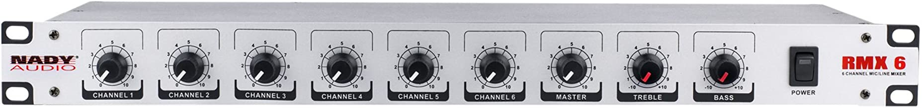"""NADY RMX-6 6 channel Rackmount Mono Microphone / Line mixer with phantom power and master tone controls -  XLR and ¼"""" inputs and outputs"""