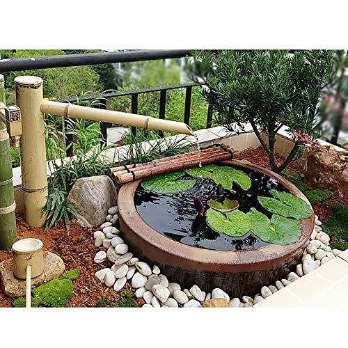 FLYTYSD Bamboo Fountain, Garden Bamboo Feng Shui Water Fountain, Outdoor Japanese Garden Feature Spout Sculptures Statues Home Decoration Arts Crafts, 70Cm