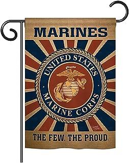 Breeze Decor - Marine Corps Burlap Americana - Everyday Military Impressions Decorative Vertical Garden Flag 13