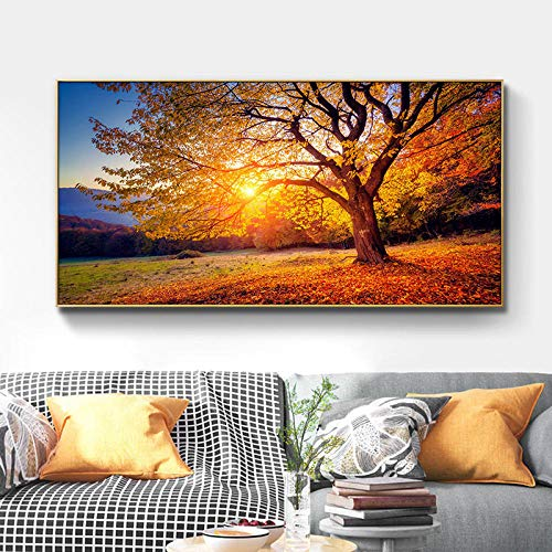 Gold Sunset Tree Otoño Paisaje Arte de la Pared Montaña Lienzo Pintura Carteles e Impresiones Imagen de Pared Moderna para la decoración de la Sala de Estar   60x120cm Sin Marco