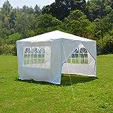 Anaelle Panana Tonnelle Tente de Réception Pavillon du Jardin Extérieure Chapiteau Barnum Etanche PE Couvert, Taille: 3x3x2.5m, Poids: 8kg (Blanc)