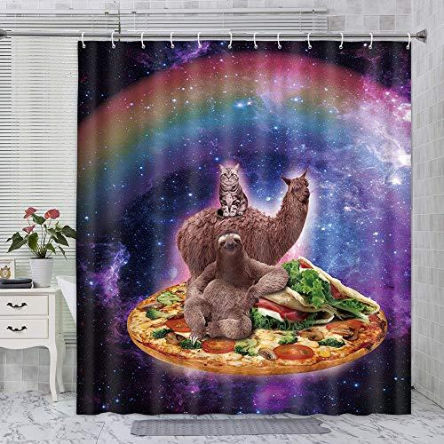 Lustiger Tier-Duschvorhang, cooler Galaxie-Weltraum mit Regenbogen-Katzenfaultier & Alpaka-Lama bei Pizza, Duschvorhang, Kinder-Duschvorhang für Badezimmer mit Haken, 178 x 178 cm