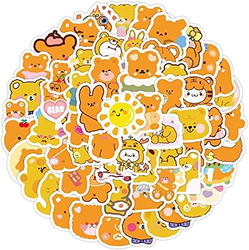 DINGQING 100Pcs Arancione Simpatico Orso Ins Conto Mano Adesivo Tazza d'Acqua per Cancelleria Bagagli Laptop Skateboard Casco Sticker