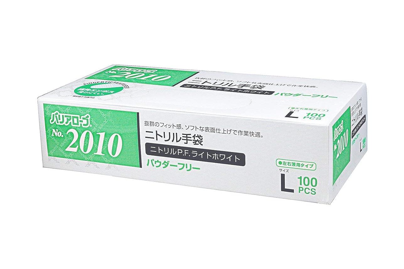 バリーワゴン世界【ケース販売】 バリアローブ №2010 ニトリルP.F.ライト ホワイト (パウダーフリー) L 2000枚(100枚×20箱)