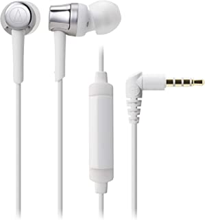 Audio-Technica ATH-CKR30iSSV SonicFuel In-Ear Headphones with In-Line Mic & Control, Silver-White