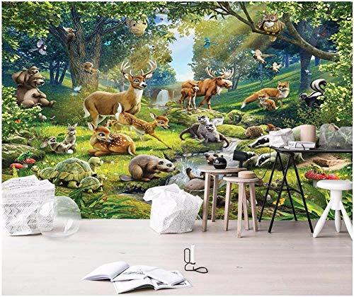 XLXBH 3D muurschildering zelfklevend behang (B) 400 ×(H) 280 cm 3D fotobehang dierenwereld eland zeeotter konijn schildpad kinderkamer 3D muurschildering muurschildering behang, kinderen kantoor eetkamer woonkamer