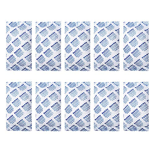 Dry & Dry 300 Gram [10 Packets] Silica Gel Premium Pure & Safe Silica Gel Packs Desiccant Dehumidifiers - Rechargeable Fabric Silica Packets for Moisture Absorber Silica Gel Packets
