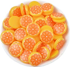 50 Pack 3D Fruit Vegetable Slime Charms Resin Flatbacks Buttons Polymer Clay Beads for Miniature Fairy Garden Hair Accessories Home Decorations (Orange)