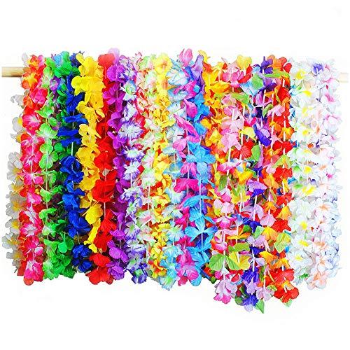 TOMYEER Tropical Leis Collier Artificielles Multicolore Collier Fleurs Hawai 36 Pièces Couleur Aléatoire