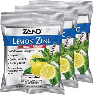 Zand HerbaLozenge Lemon Zinc | Throat Lozenges | No Corn Syrup, No Cane Sugar, No Colors | 15 Lozenge, 3 Bags