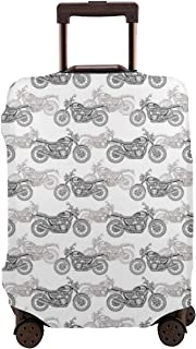 Travel Luggage Cover,Realistic Grayscale Of Classic Motorcycles With Many Details Suitcase Protector