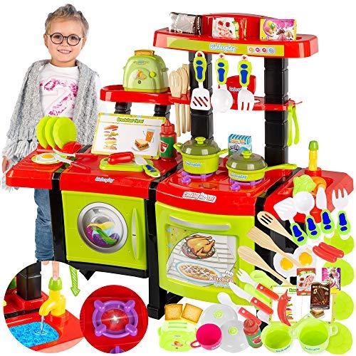 Kinderplay Cocina Juguete, Cocinita con Características de Sonidos, Luces y Agua Incluye 36 Accesorios, para Ninos con Toster KP6031