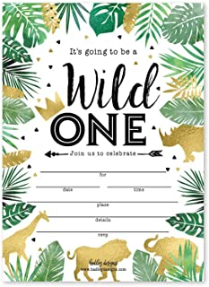 25 Jungle Safari Zoo, Elephant Animals Themed Kids Party Invitation, Crown Lion Tropical Invite, Forest Giraffe Wild One B...