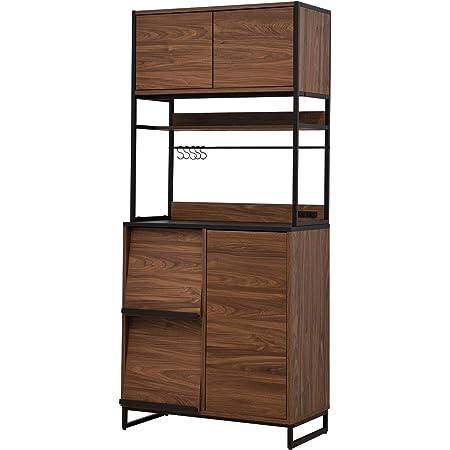 ワイエムワールド 食器棚 キッチンボード コンセント付き 幅80 ウォールナット 58-100001