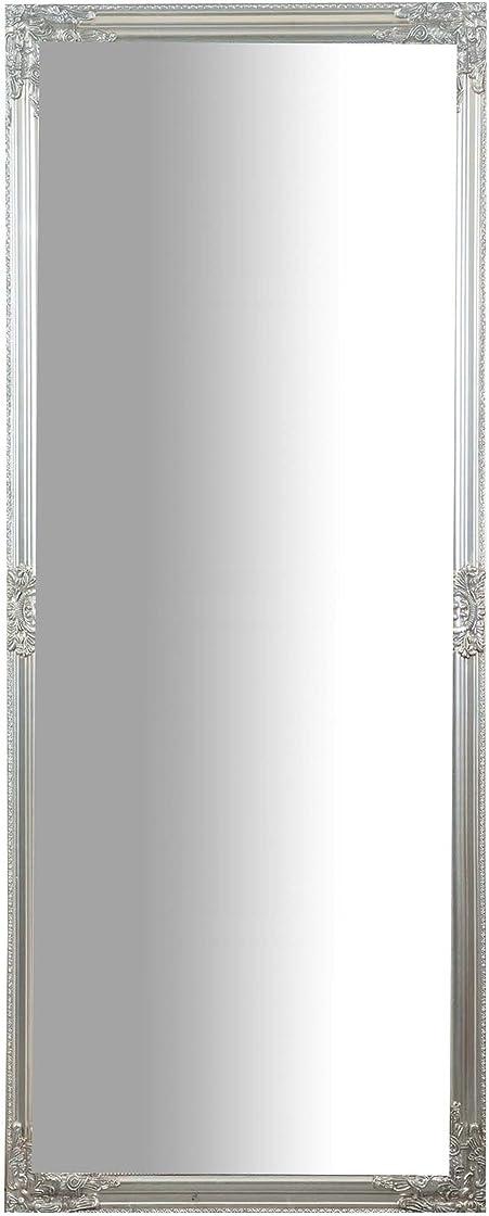 Specchiera lunga rettangolare da parete cornice finitura colore argento anticato,grande, lunga,l72xpr3xh180cm L4684
