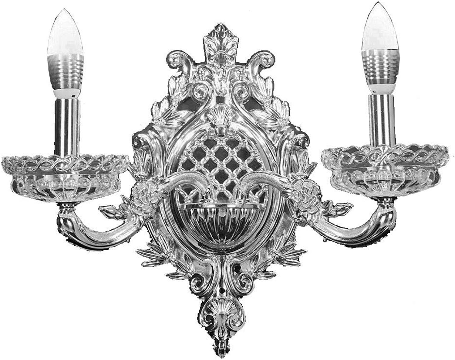 New legend 2-Light Chrome Finish Wall Sconce Lights Chandelier Wall Lamp with Glass Shade W16 xH14 , 815