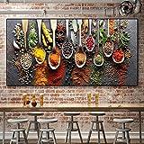Cuadro de decoración con tema de cocina - Condimento de especias Cuchara de cereales Lienzos Carteles e impresiones Imagen de pared para decoración de habitaciones 80x160cm (32x63in)Con marco