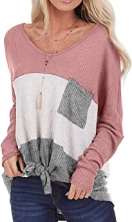 Ido4U Womens Waffle Knit Tops Long Sleeve V Neck Color Block Casual T Shirts Tie Knot Tunics Sweater Pullover