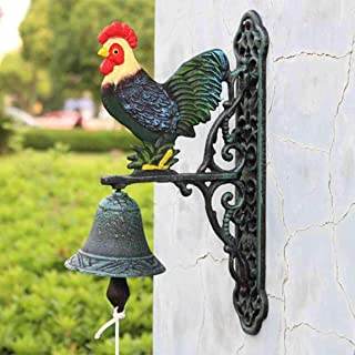 LBYMYB Wrought Iron doorbell Village Rooster Iron Bell cast Iron Clock Hanging Decoration Wall Hanging Garden Decoration 23x34cm doorbell