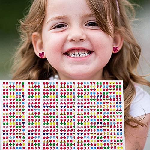 PMSMT Kinder klebrige Ohrringe 3D Edelsteine Aufkleber Glitter Kristall Aufkleber Ohrringe für Mädchen Nagel Ohrring Prinzessin Make-up Spielzeug Geschenk