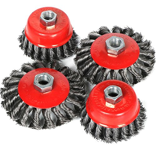 Yaheetech 4pcs Twist Knot Wire Brush Set Kit, Fit For 115mm Angle Grinder