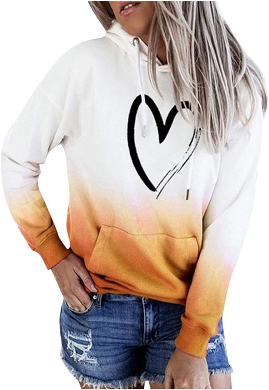 wlczzyn Hoodies for Women,Women's Long Sleeve Gradient Hooded Sweatshirts Heart Print Pullover Tops Basic Hooded Tops