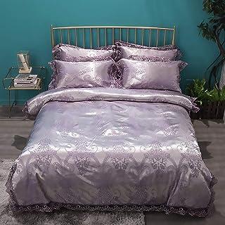 Fiche lit Set Taie d'oreiller en dentelle tissu tencel motif or violet / draps / housse de couette / doux et confortable a...