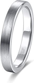 4mm 6mm 8mm Tungsten Carbide Rings for Men Women Silver/Blue Wedding Band Size 4-15
